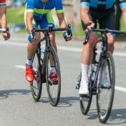 Three professional cyclists on race